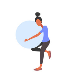 Pregnant woman holding gymnastic ball girl doing vector