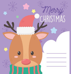 Reindeer with hat star snow merry christmas tag vector