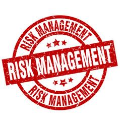 Risk management round red grunge stamp vector