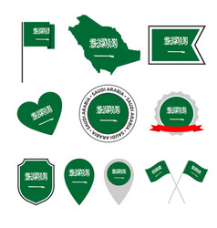 Saudi arabia flag icons set national flag of vector
