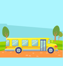 school bus in countryside landscape on background vector image