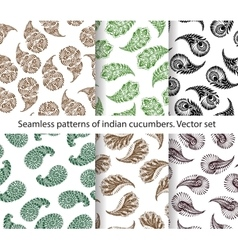 Seamless patterns of indian cucumbers vector
