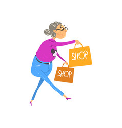 senior man walking with shopping bags elderly vector image