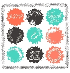 Set of 9 decorative wedding elements vector