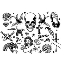 Set various tattoo flash vector