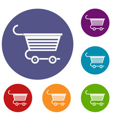 Shopping trolley icons set vector
