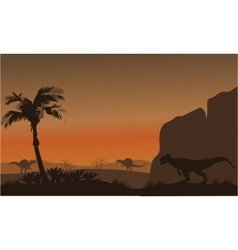 Silhouette of spinosaurus and allosaurus vector