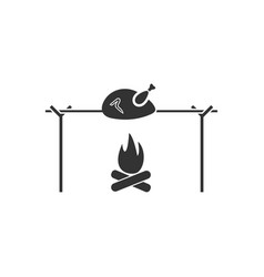 Skewer chicken icon flat vector