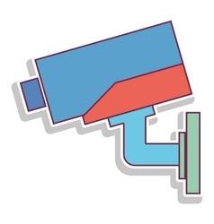 Square colorful infrared surveillance camera icon vector