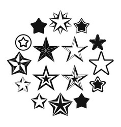 star icons set simple ctyle vector image
