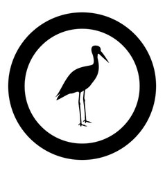stork ciconia icon black color in circle round vector image