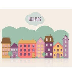 Street with houses vector image