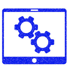 Tablet settings gears grunge icon vector