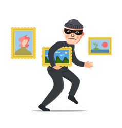 Thief steals a picture vector