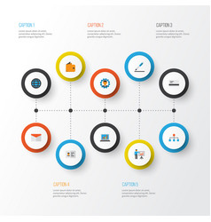 trade flat icons set collection of envelope pen vector image