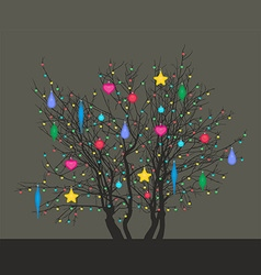 Tree with Christmas toys vector