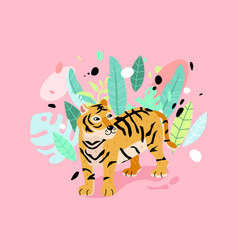 typography slogan with striped tiger vector image