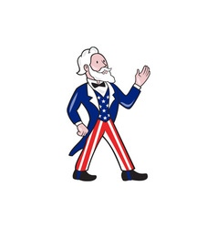 Uncle Sam Waving Hand Crest Cartoon vector