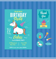 Unicorn birthday party invitation template vector