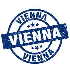 Vienna blue round grunge stamp vector