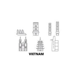Vietnam line travel skyline set vietnam outline vector