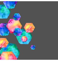 Watercolor bright hexagon vector image