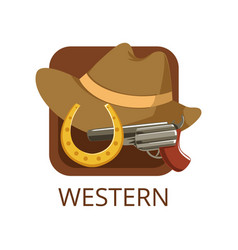 Western cinema genre symbol for cinema or channel vector