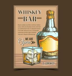 Whiskey bar creative advertising poster vector
