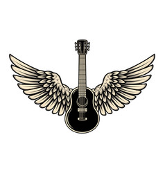 winged guitar isolated on white background design vector image