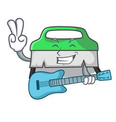 with guitar scrub brush mascot cartoon vector image