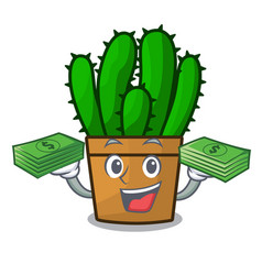 With money spurge cactus plant isolated on mascot vector