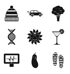 Woman organism icons set simple style vector