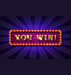 you win banner design vector image