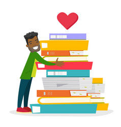 Young african-american man hugging books vector