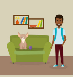 Young man with cute mascot in the house vector