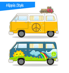 retro styled hippie van vector image