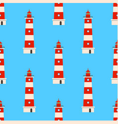 color lighthouse seamless background pattern vector image