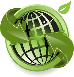 globe and green arrows vector image