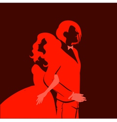 wedding background with young couple vector image