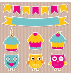 Birthday party stickers set vector image vector image