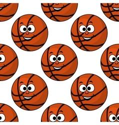 Cartoon smiling basketball seamless pattern vector image