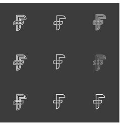 letter f set signs monogram minimalism vector image