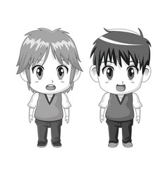 monochrome set silhouette cute anime tennagers vector image vector image