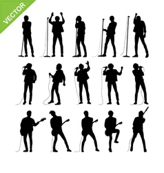 Singer and musicians silhouettes vector image