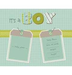 baby boy arrival card with photo frame in vector image