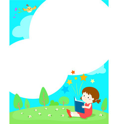blank template girl reading a book vector image vector image