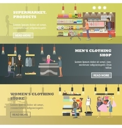 People shopping in a store and local market vector image