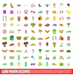 100 park icons set cartoon style vector
