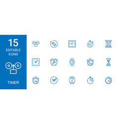 15 timer icons vector image