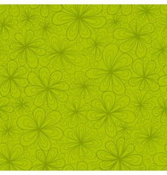 Abstract flowers seamless pattern in green tints vector